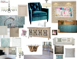 Aqua, Chrome & Pink decor board